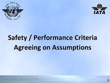 Safety / Performance Criteria Agreeing on Assumptions 1 BEIJING, CHINA; 30 JUN-11 JUL 2014.