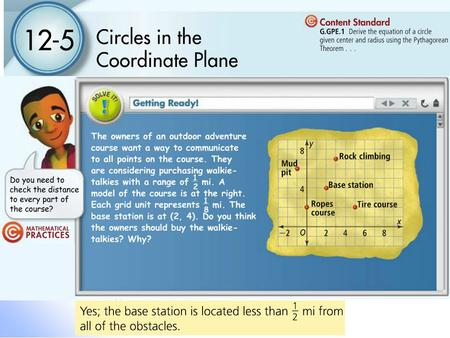 12-5 Circles in the Coordinate Plane