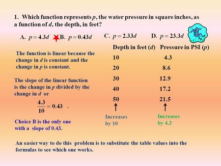 1. Which function represents p, the water pressure in square inches, as a function of d, the depth, in feet? Depth in feet (d) Pressure in PSI (p) 10.