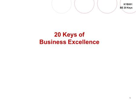 1 KYB001 BE 20 Keys QUICK SET-UP 20 Keys of Business Excellence.