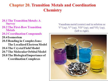 20.1 The Transition Metals: A Survey 20.2 The First-Row Transition Metals 20.3 Coordination Compounds 20.4 Isomerism 20.5 Bonding in Complex Ions: The.