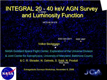 INTEGRAL 20 - 40 keV AGN Survey and Luminosity Function Volker Beckmann NASA Goddard Space Flight Center, Exploration of the Universe Division & Joint.