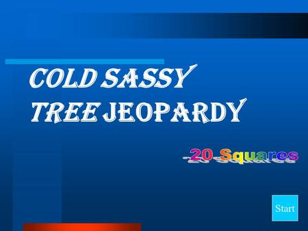 Cold Sassy Tree Jeopardy Start Final Jeopardy Question Say It in Standard English Who Said It? The TrainMiss LoveWho? 10 20 30 40.