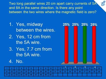 Two long parallel wires 20 cm apart carry currents of 5A and 8A in the same direction. Is there any point between the two wires where the magnetic field.