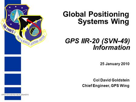 GPS IIR-20 (SVN-49) Information