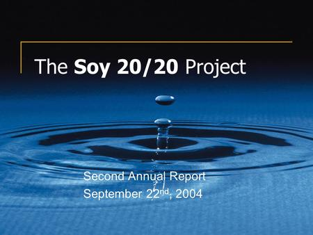 The Soy 20/20 Project Second Annual Report September 22 nd, 2004.