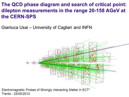 1 Gianluca Usai – University of Cagliari and INFN Electromagnetic Probes of Strongly interacting Matter in ECT* Trento - 23/05/2013 The QCD phase diagram.
