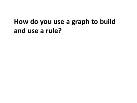 How do you use a graph to build and use a rule?. How do you use a graph to build and use a rule (dry)?