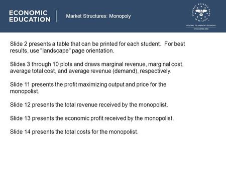 Market Structures: Monopoly Slide 2 presents a table that can be printed for each student. For best results, use landscape page orientation. Slides 3.