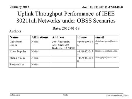 Submission doc.: IEEE 802.11-12/0148r0 Nokia Internal Use Only January 2012 Chittabrata Ghosh, Nokia Slide 1 Date: 2012-01-19 Authors: Uplink Throughput.