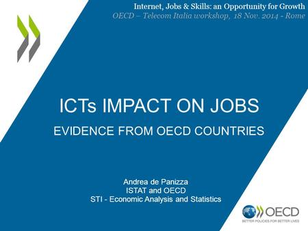 ICTs IMPACT ON JOBS EVIDENCE FROM OECD COUNTRIES Andrea de Panizza ISTAT and OECD STI - Economic Analysis and Statistics Internet, Jobs & Skills: an Opportunity.