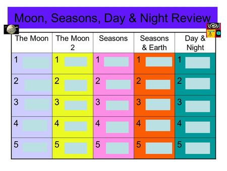 Moon, Seasons, Day & Night Review The MoonThe Moon 2 SeasonsSeasons & Earth Day & Night 11111 22222 33333 44444 55555.