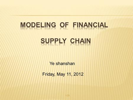 Ye shanshan Friday, May 11, 2012 1/20.  Problem  Literature Review  Mathematical Model  Conclusion  My idea 参考文献: Gupta, S., and Dutta, K., Modeling.