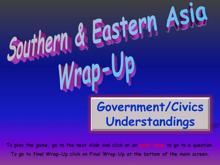 Southern & Eastern Asia Government/Civics Understandings