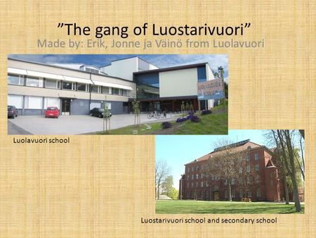 """The gang of Luostarivuori"" Made by: Erik, Jonne ja Väinö from Luolavuori Luostarivuori school and secondary school Luolavuori school."