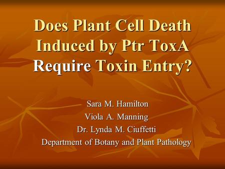 Does Plant Cell Death Induced by Ptr ToxA Require Toxin Entry? Sara M. Hamilton Sara M. Hamilton Viola A. Manning Dr. Lynda M. Ciuffetti Department of.