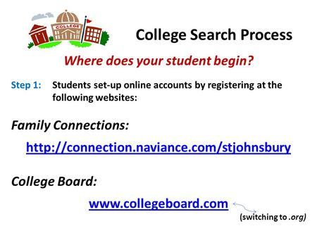 College Search Process Where does your student begin? Step 1: Students set-up online accounts by registering at the following websites: Family Connections: