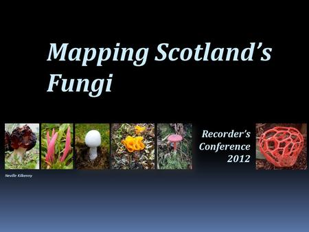Mapping Scotland's Fungi Recorder's Conference 2012 Neville Kilkenny.