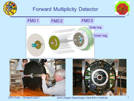 CR7-FMD, 19 March 2007Jens Jørgen Gaardhøje, Niels Bohr Institute 1 Forward Multiplicity Detector FMD 1 FMD 3 FMD 2 Outer ring Inner ring.