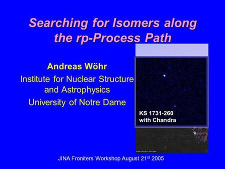 JINA Froniters Workshop August 21 st 2005 Searching for Isomers along the rp-Process Path Andreas Wöhr Institute for Nuclear Structure and Astrophysics.