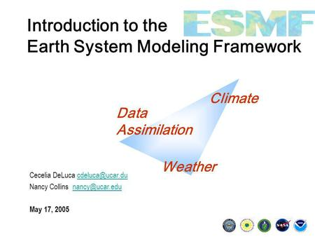 Introduction to the Earth System Modeling Framework Cecelia DeLuca Nancy Collins May 17, 2005.