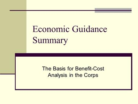 Economic Guidance Summary The Basis for Benefit-Cost Analysis in the Corps.