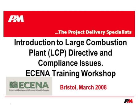 1 Introduction to Large Combustion Plant (LCP) Directive and Compliance Issues. ECENA Training Workshop Bristol, March 2008.
