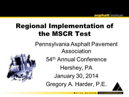 Regional Implementation of the MSCR Test