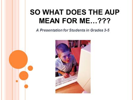 SO WHAT DOES THE AUP MEAN FOR ME…??? A Presentation for Students in Grades 3-5.