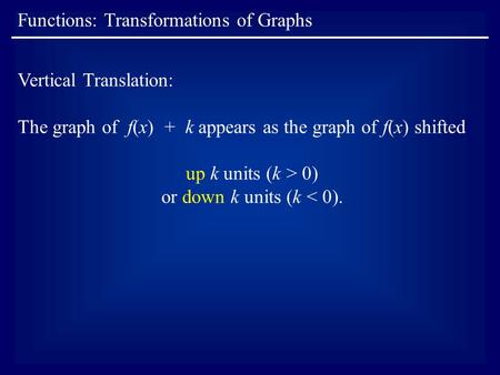 Functions: Transformations of Graphs Vertical Translation: The graph of f(x) + k appears as the graph of f(x) shifted up k units (k > 0) or down k units.