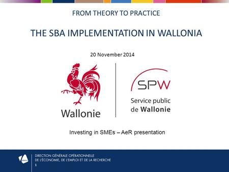 1 FROM THEORY TO PRACTICE THE SBA IMPLEMENTATION IN WALLONIA 20 November 2014 Investing in SMEs – AeR presentation.