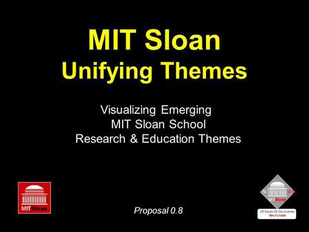MIT Sloan Unifying Themes Visualizing Emerging MIT Sloan School Research & Education Themes Proposal 0.8.