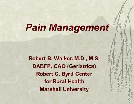 Pain Management Robert B. Walker, M.D., M.S. DABFP, CAQ (Geriatrics) Robert C. Byrd Center for Rural Health Marshall University.