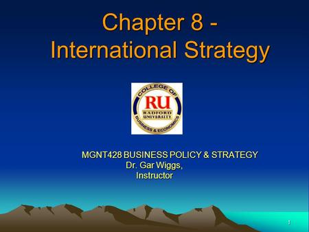 Chapter 8 - International Strategy