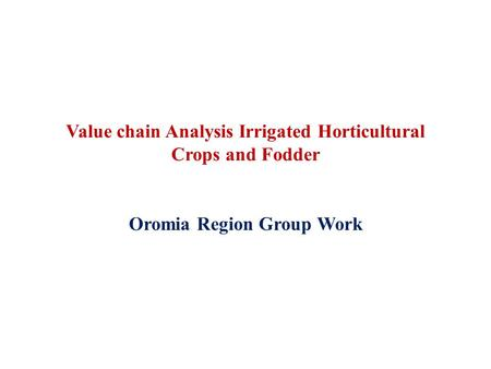 Value chain Analysis Irrigated Horticultural Crops and Fodder Oromia Region Group Work.