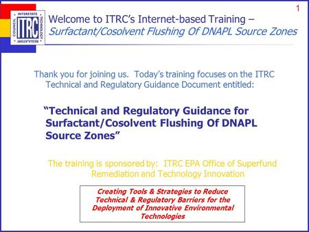 ITRC – Shaping the Future of Regulatory Acceptance