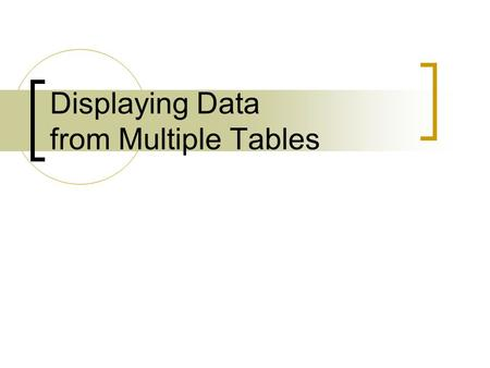 Displaying Data from Multiple Tables. Objectives After completing this lesson, you should be able to do the following:  Write SELECT statements to access.