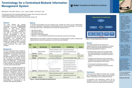 Terminology for a Centralized Biobank Information Management System Mary-Beth M. Joshi, MPH 2, Aenoch J. Lynn 1, Anita C. Walden 3, and Helena J. Ellis.