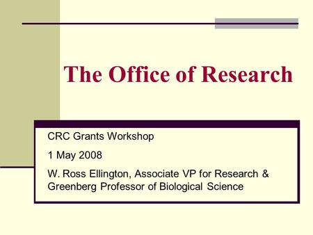 The Office of Research CRC Grants Workshop 1 May 2008 W. Ross Ellington, Associate VP for Research & Greenberg Professor of Biological Science.