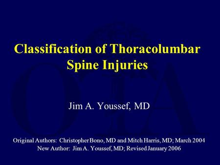 Classification of Thoracolumbar Spine Injuries
