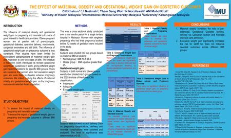 THE EFFECT OF MATERNAL OBESITY AND GESTATIONAL WEIGHT GAIN ON OBSTETRIC OUTCOMES CN Khairun 1,3, I Nazimah 2, Tham Seng Woh 1 N Norzilawati 3 AM Mohd Rizal.