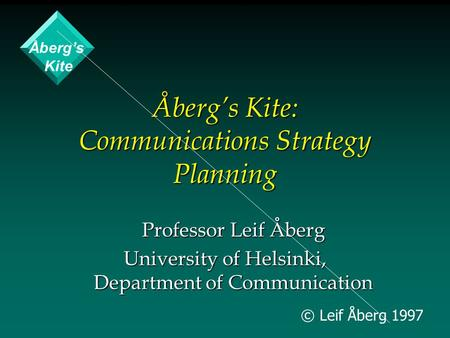 © Leif Åberg 1997 Åberg's Kite: Communications Strategy Planning Professor Leif Åberg University of Helsinki, Department of Communication Åberg's Kite.