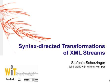 1 Syntax-directed Transformations of XML Streams Stefanie Scherzinger joint work with Alfons Kemper.
