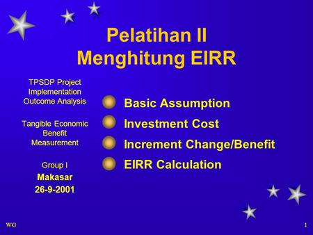 WG 1 Pelatihan II Menghitung EIRR Basic Assumption Investment Cost Increment Change/Benefit EIRR Calculation TPSDP Project Implementation Outcome Analysis.