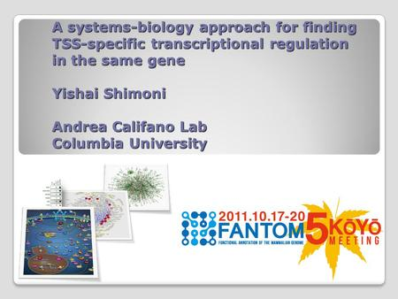 A systems-biology approach for finding TSS-specific transcriptional regulation in the same gene Yishai Shimoni Andrea Califano Lab Columbia University.