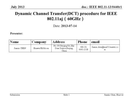 Doc.: IEEE 802.11-13/0440r1 Submission July 2013 Jiamin Chen, HuaweiSlide 1 Dynamic Channel Transfer(DCT) procedure for IEEE 802.11aj ( 60GHz ) Date: 2013-07-14.
