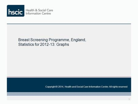 1 Copyright © 2014, Health and Social Care Information Centre. All rights reserved Breast Screening Programme, England, Statistics for 2012-13: Graphs.