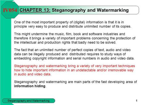 CHAPTER 13: Steganography <strong>and</strong> Watermarking