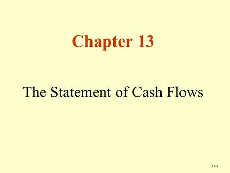 13–1 Chapter 13 The Statement of Cash Flows. 13–2 Copyright © Cengage Learning. All rights reserved. Amazon.com Founded in 1995, Amazon largest on-line.