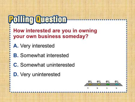 A.A B.B C.C D.D Section 4-Polling QuestionSection 4-Polling Question How interested are you in owning your own business someday? A.Very interested B.Somewhat.
